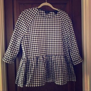 Black & White Gingham Peplum Top